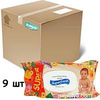 Упаковка влажных салфеток Суперфреш Superfresh для детей и мам с клапаном и витаминным комплексом, 120 шт
