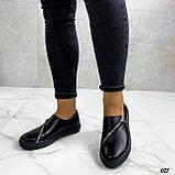 Женские туфли / слипоны черные с молнией натуральная кожа, фото 4