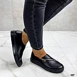 Женские туфли / слипоны черные с молнией натуральная кожа, фото 6
