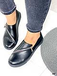 Женские туфли / слипоны черные с молнией натуральная кожа, фото 7