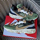 Мужские кроссовки Nike React Element  'Undercover' хаки демисезонные осень весна. Живое фото. Топ реплика ААА+, фото 5