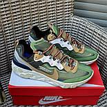 Мужские кроссовки Nike React Element  'Undercover' хаки демисезонные осень весна. Живое фото. Топ реплика ААА+, фото 2