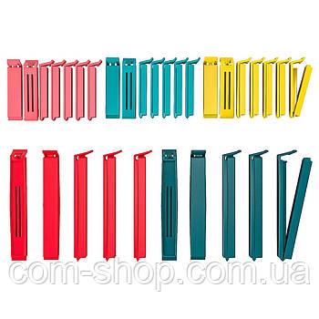 Зажим для пищевых пакетов IKEA, пластиковые, 30 шт, разные цвета