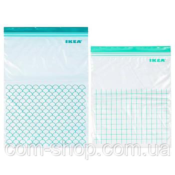 Пакет закрывающийся IKEA для хранения, заморозки продуктов, бирюзовый