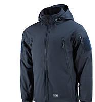 M-Tac зимняя куртка синяя Soft Shell с подстежкой Dark Navy Blue+ПОДАРОК