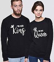 Парные свитшоты. Кофты для влюбленных. Король и королева
