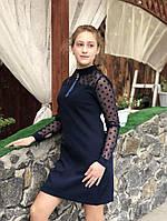 Школьное подростковое платье с сеткой для девочки [Рост: 152]