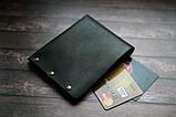 Чоловічий шкіряний гаманець HANDCRAFT IN UA чорний, фото 6