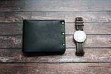 Чоловічий шкіряний гаманець HANDCRAFT IN UA чорний, фото 7