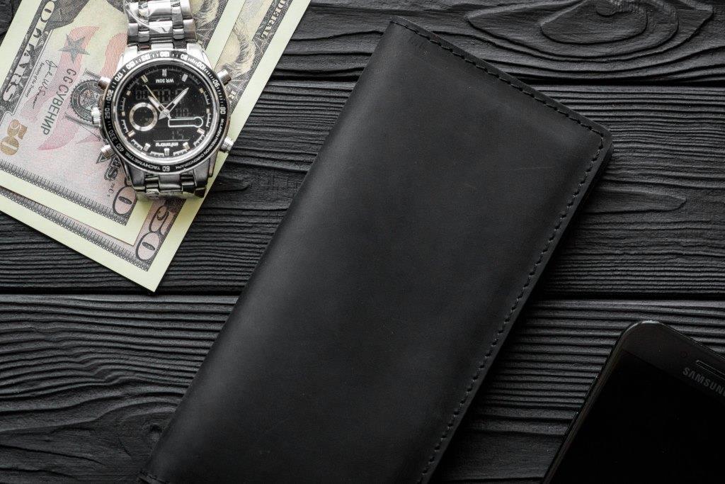 Чоловіче шкіряне портмоне гаманець Фінансист чорний