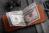 Зажим для денег из кожи mod.Сracker коньячный, фото 3