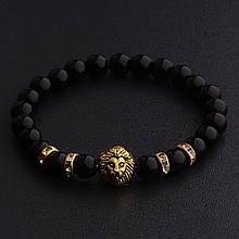 Мужской каменный браслет mod.BlackLion gold II Gloss