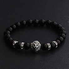 Мужской каменный браслет mod.BlackLion silver II gloss