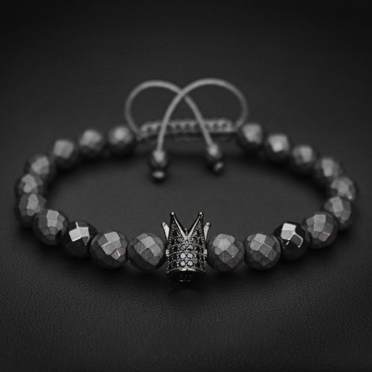Мужской каменный браслет mod.Crown ROMB