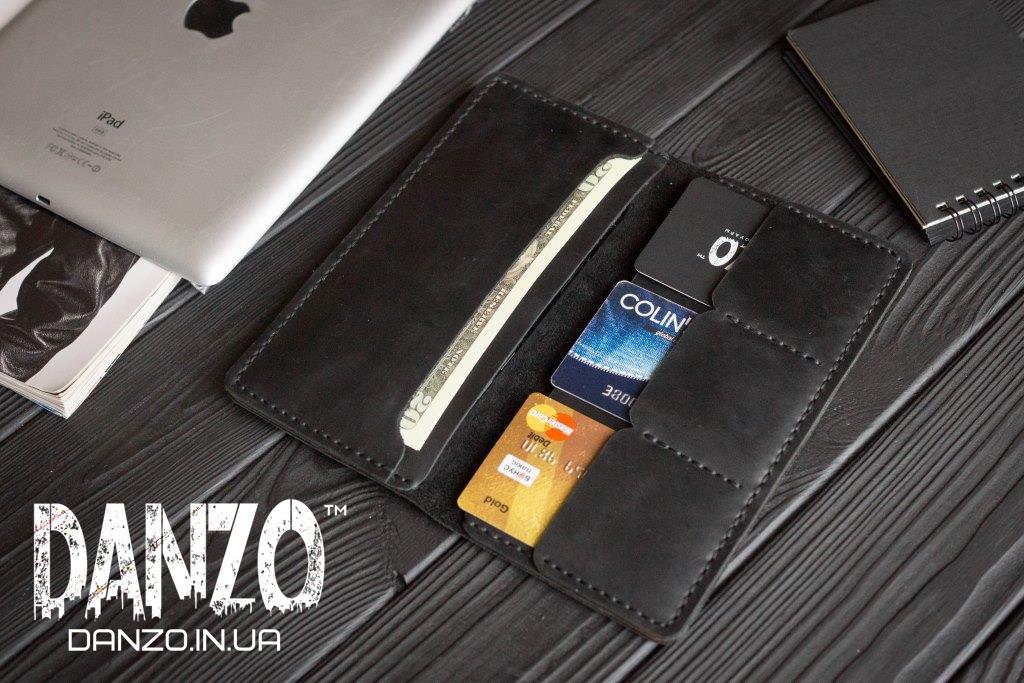 Мужское кожаное портмоне кошелек черный FortSmith лонг