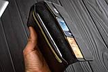 Мужское кожаное портмоне кошелек черный FortSmith лонг, фото 4