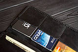 Мужское кожаное портмоне кошелек черный FortSmith лонг, фото 8