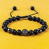 Мужской каменный браслет mod.Sfera черный, фото 4