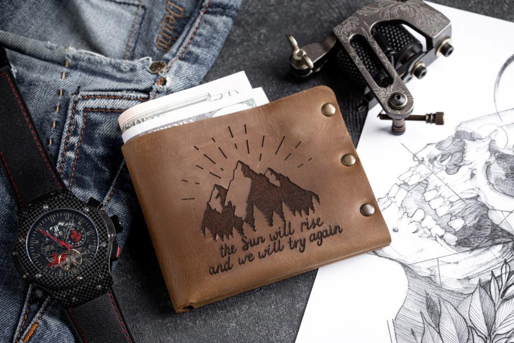 Чоловічий шкіряний гаманець ТатуНаКоже, світанок