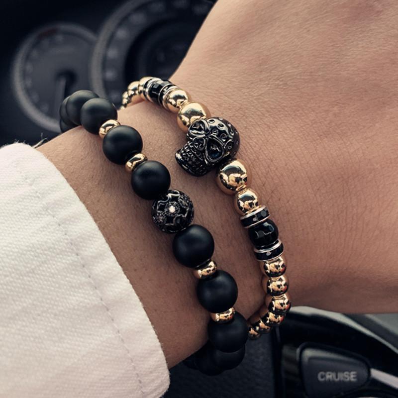 Чоловічий кам'яний браслет mod.Goldman комплект браслетів