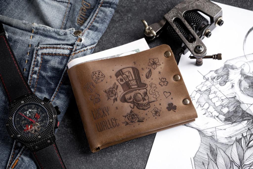 Чоловічий шкіряний гаманець ТатуНаКоже, Удачливий гаманець Lucky wallet