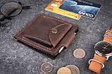 Зажим для денег с монетницей кожаный mod.Pocket коричневый, фото 2