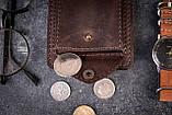 Зажим для денег с монетницей кожаный mod.Pocket коричневый, фото 3