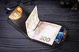 Зажим для денег с монетницей кожаный mod.Pocket коричневый, фото 5