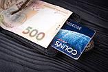 Зажим для денег с монетницей кожаный mod.Pocket коричневый, фото 6