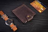 Зажим для денег с монетницей кожаный mod.Pocket коричневый, фото 8