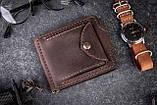 Зажим для денег с монетницей кожаный mod.Pocket коричневый, фото 9
