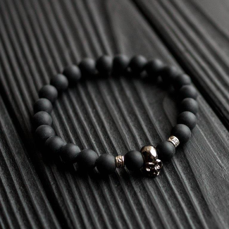Мужской каменный браслет mod.Skull matt