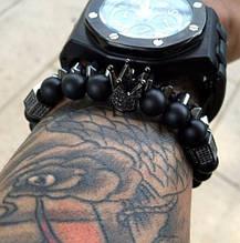 Мужской каменный браслет mod.Crown