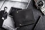Зажим для денег кожаный mod.Stayer black с монетницей, фото 2
