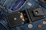 Зажим для денег кожаный mod.Stayer black с монетницей, фото 4
