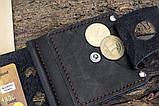 Зажим для денег кожаный mod.Stayer black с монетницей, фото 6