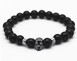 Мужской каменный браслет mod.Skull gloss, фото 2