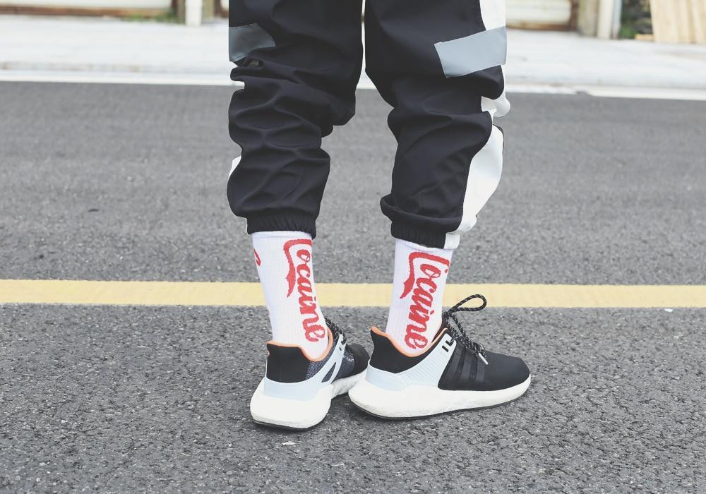 Высокие мужские носки с принтом Cocaine, White
