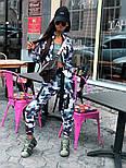 Женский брючный костюм милитарми с мастеркой на молнии и штанами джоггерами vN9698, фото 2