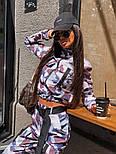 Женский брючный костюм милитарми с мастеркой на молнии и штанами джоггерами vN9698, фото 4