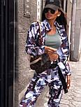 Женский брючный костюм милитарми с мастеркой на молнии и штанами джоггерами vN9698, фото 6