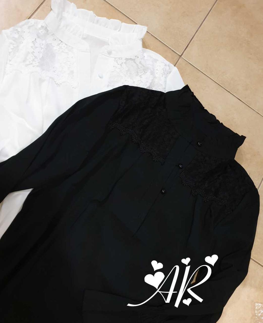Черная и белая шифоновая рубашка с гипюровыми вставками vN9764