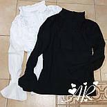 Черная и белая шифоновая рубашка с гипюровыми вставками vN9764, фото 3