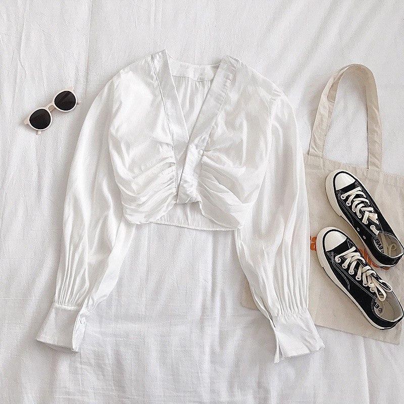 Женская укороченная блуза с длинными рукавами vN9767
