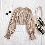 Женская укороченная блуза с длинными рукавами vN9767, фото 4