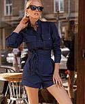 Джинсовый комбинезон с шортами и длинным рукавом, на талии пояс vN9802, фото 2