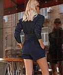 Джинсовый комбинезон с шортами и длинным рукавом, на талии пояс vN9802, фото 3