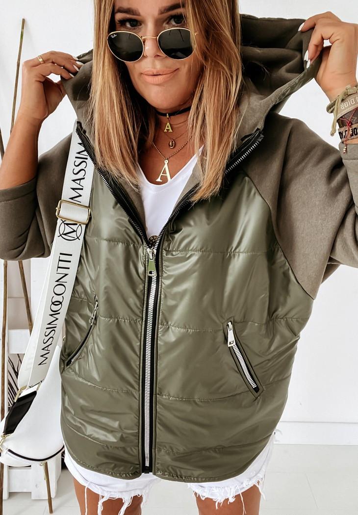 Демисезонная женская куртка с рукавами из трехнитки, с капюшоном и на молнии vN9914