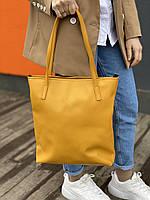 Сумка шоппер  на молнии женская непромокаемая из из экокожи желтая, фото 1