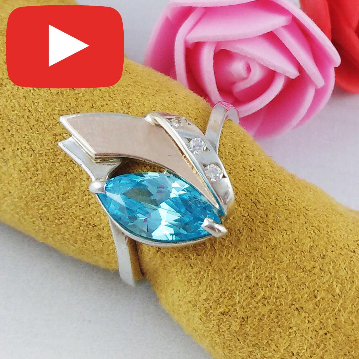 Серебряное кольцо с золотыми вставками размер 17,5  132 к
